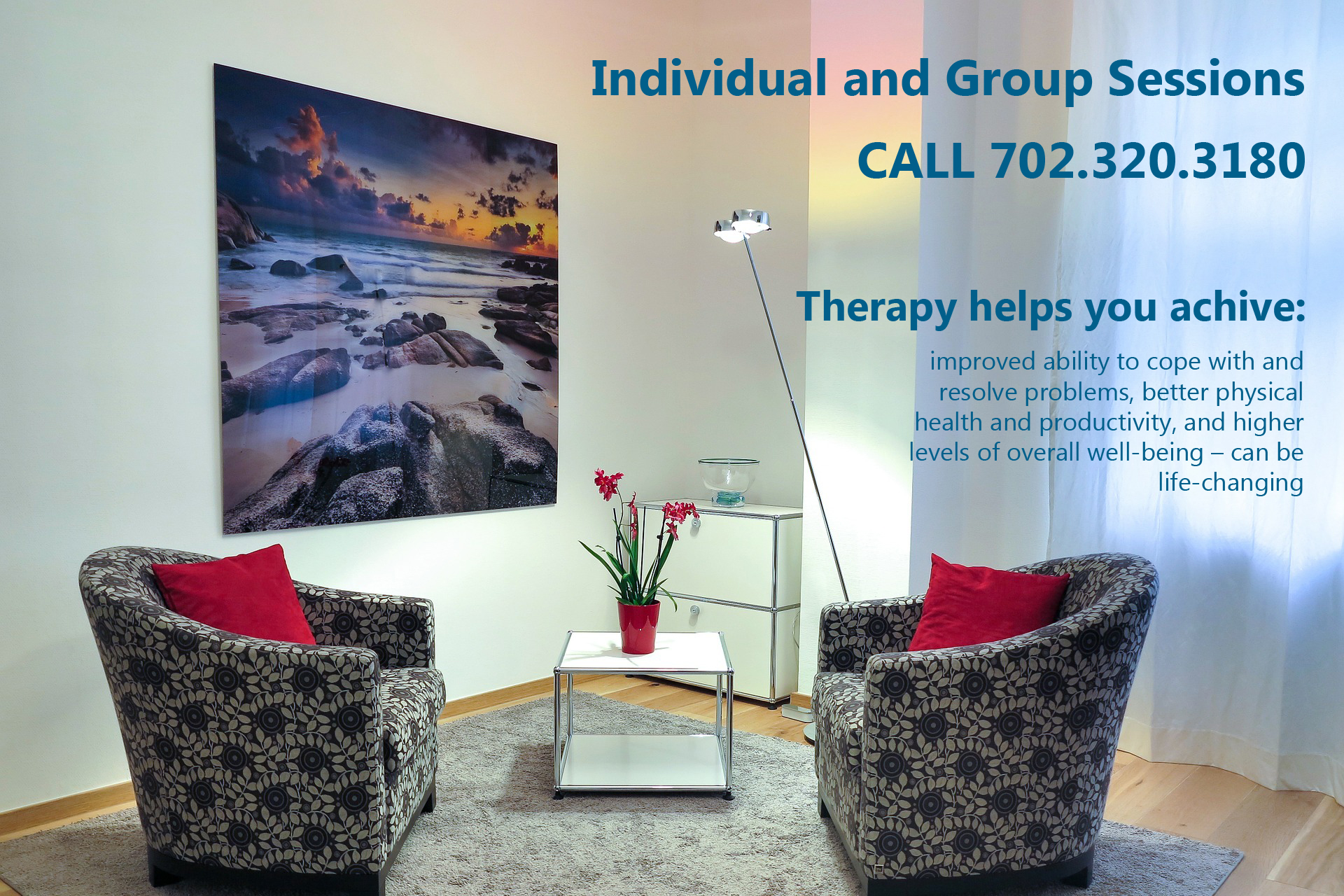 Individual and group therapy sessions and counseling at Las Vegas counseling office location